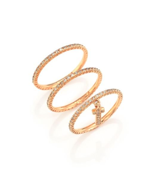 LJ Cross - Metallic Champagne Diamond & 14k Rose Gold Cross Charm Ring Set - Lyst