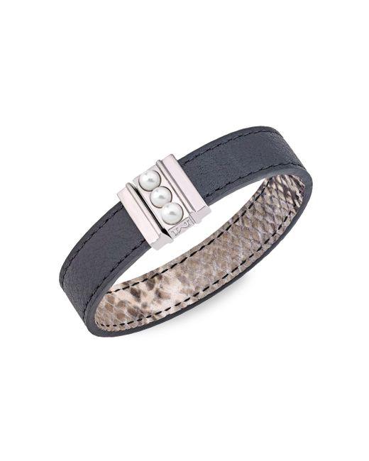 Majorica - Metallic Amazona 5mm Mabe Pearl Leather Magnetic Bracelet - Lyst
