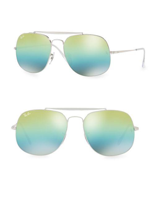 Ray-Ban - Green 57mm General Mirrored Aviator Sunglasses - Lyst