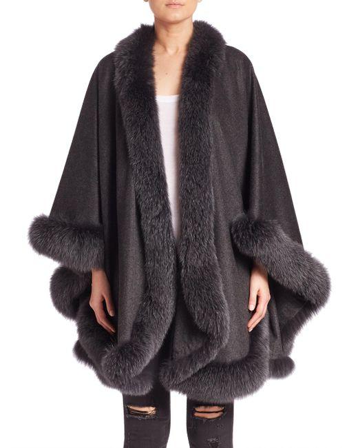 Sofia Cashmere - Gray Fox Fur-trimmed Cashmere Wrap - Lyst
