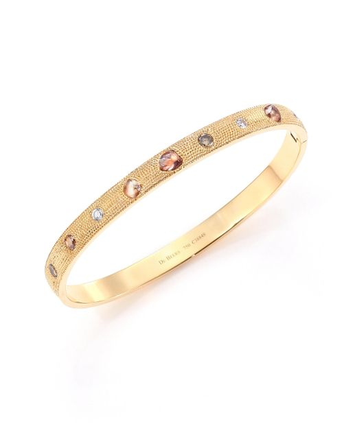 De Beers - Metallic Talisman Core Diamond & 18k Yellow Gold Bangle Bracelet - Lyst