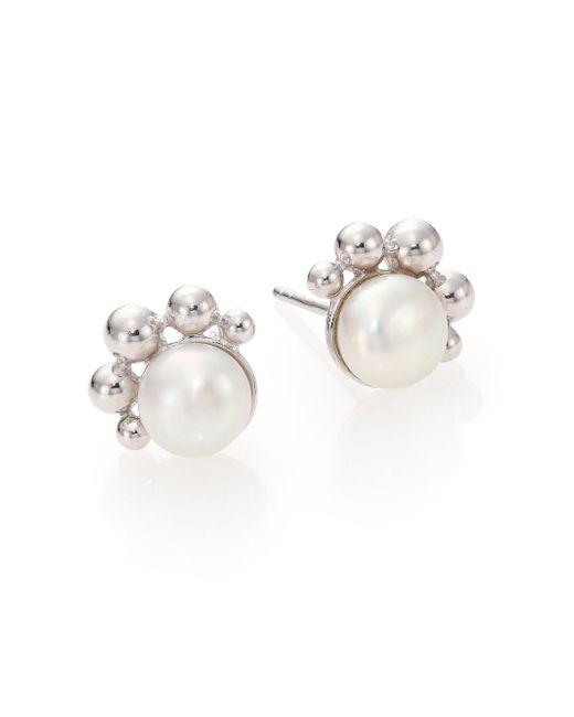 Anzie - Dew Drop Bubbling Brook 8mm White Mabé Pearl Stud Earrings - Lyst