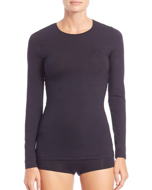 Hanro Black Soft Touch Long-sleeve Top