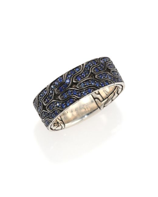 John Hardy   Classic Chain Blue Sapphire & Sterling Silver Band Ring for Men   Lyst