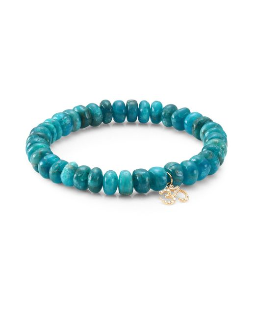 Sydney Evan - Blue Small Om 14k Yellow Gold, Diamond & Apatite Beaded Bracelet - Lyst