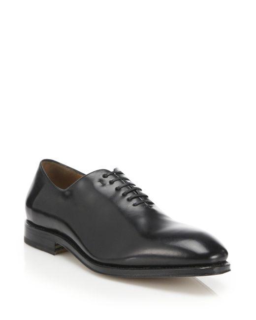 Ferragamo - Black Tramezza Carmelo Plain Toe Oxfords for Men - Lyst