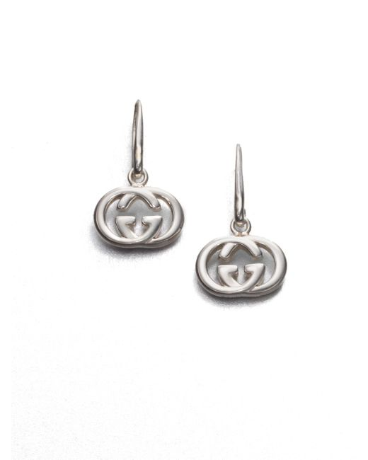 Gucci | Metallic Double G Sterling Silver Drop Earrings | Lyst