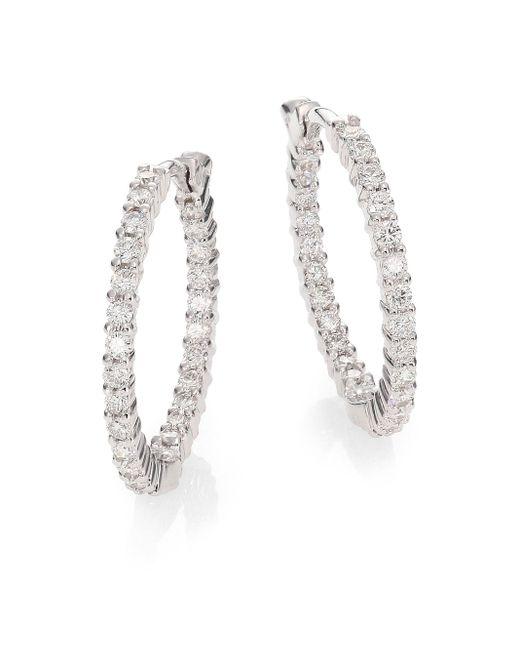 """Roberto Coin Metallic Diamond & 18k White Gold Inside-outside Hoop Earrings/0.85"""""""