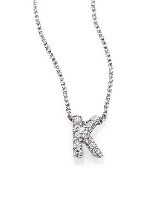 Roberto Coin - Metallic Tiny Treasures Diamond & 18k White Gold Love Letter Pendant Necklace - Lyst
