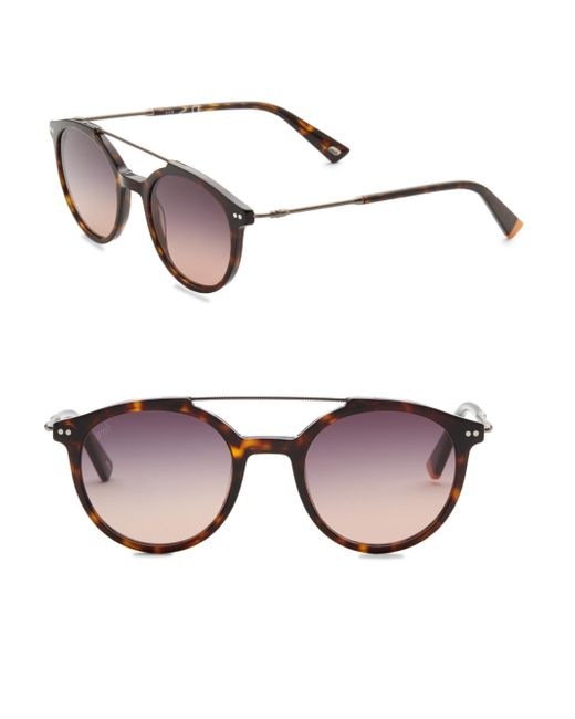 Web - Brown 50mm Round Havana Sunglasses for Men - Lyst