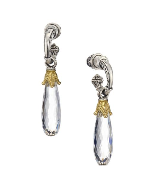 Konstantino - Metallic Pythia Crystal, Sterling Silver & 18k Yellow Gold Post Earrings - Lyst