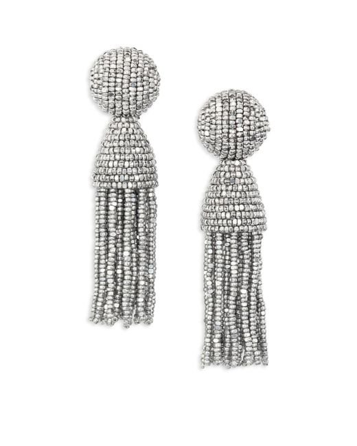 Oscar de la Renta - Metallic Short Beaded Tassel Clip-on Earrings - Lyst
