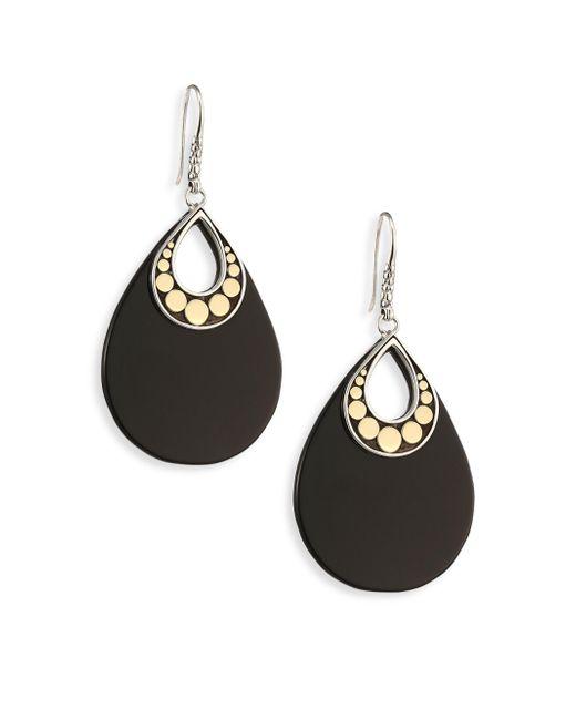 John Hardy   Dot Black Onyx & 18k Yellow Gold Drop Earrings   Lyst