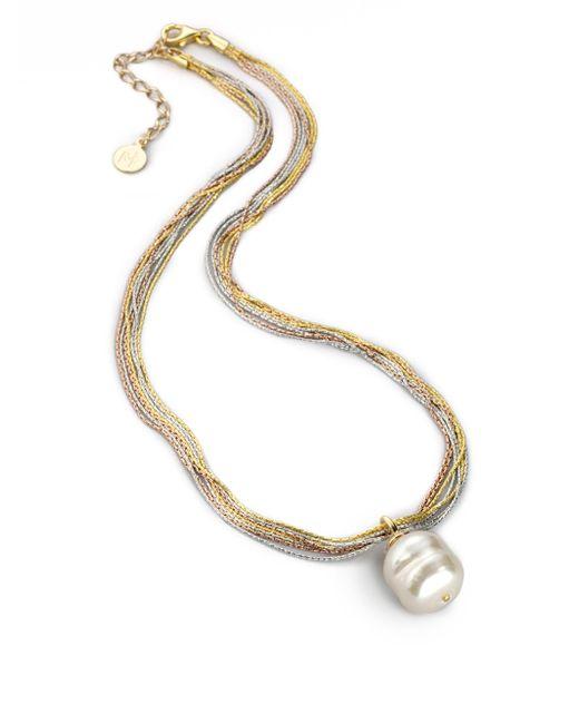 Majorica - 16mm White Baroque Pearl Multi-chain Pendant Necklace - Lyst