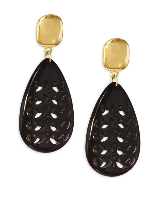Nest - Black Horn Teardrop Earrings - Lyst