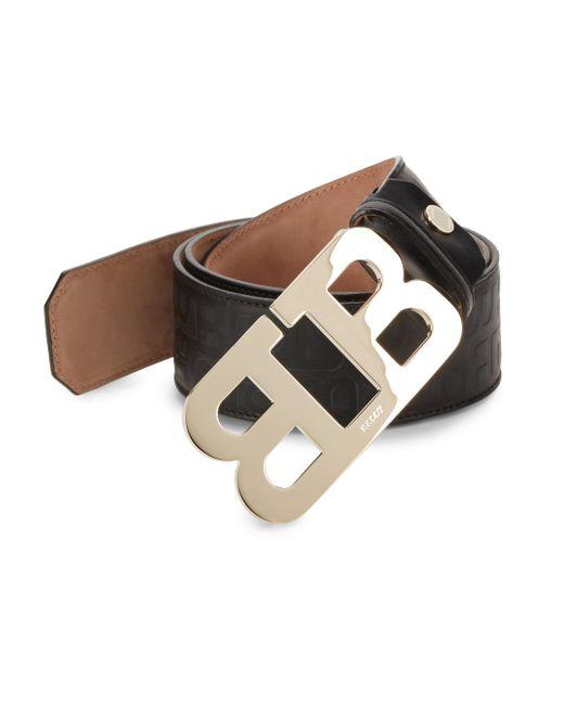 Bally - Black Mirror B Leather Belt for Men - Lyst