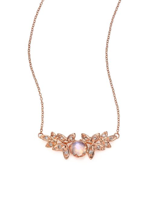 Jacquie Aiche | Pink Moonstone, Diamond & 14k Rose Gold Leaves Necklace | Lyst