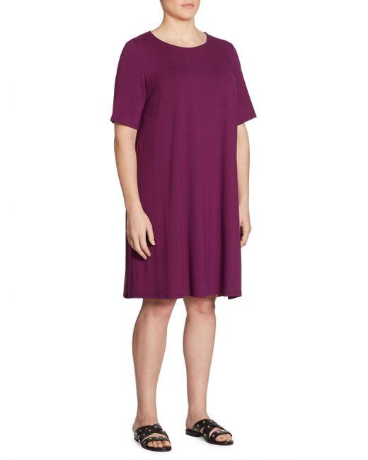 Eileen Fisher | Purple Jersey Shift Dress | Lyst