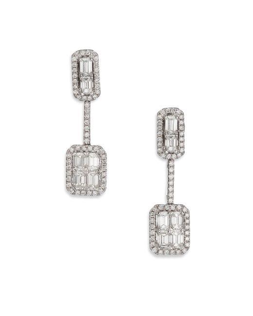 Roberto Coin - Baguette Deco Diamond & 18k White Gold Drop Earrings - Lyst