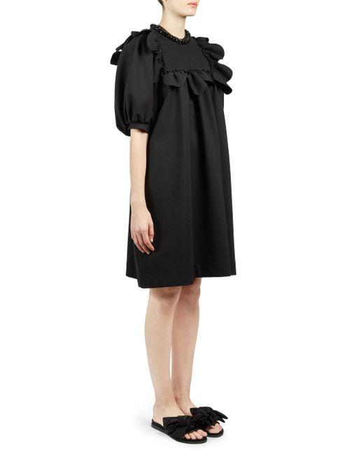Simone Rocha - Black Beaded Scallop Frill Shift Dress - Lyst