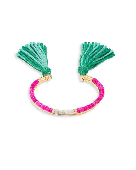Aurelie Bidermann | Green Howlite Beaded Tassel Bracelet | Lyst