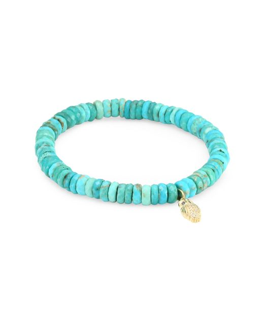 Sydney Evan - Blue Diamond, Sapphire, Turquoise And 14k Gold Owl Charm Beaded Bracelet - Lyst