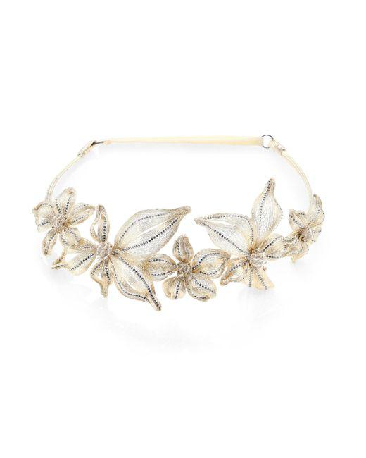 Colette Malouf | White Mesh & Swarovski Crystal Botanical Headband | Lyst