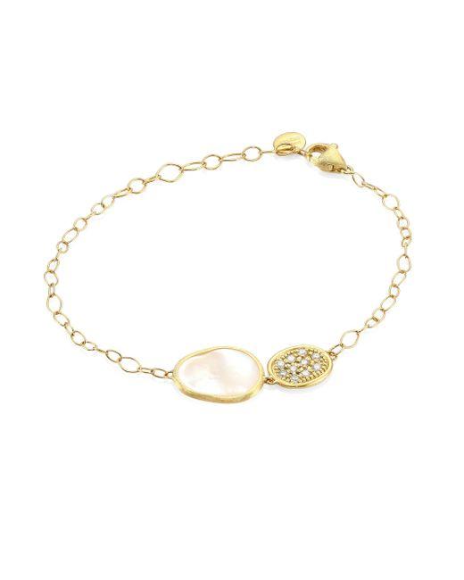 Marco Bicego - Metallic Mother-of-pearl, Diamond & 18k Yellow Gold Lunaria Bracelet - Lyst