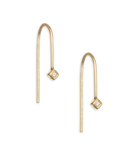 Zoe Chicco | Metallic Diamond & 14k Yellow Gold Wire Earrings | Lyst