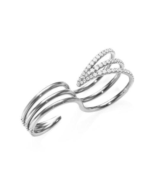 Melissa Kaye - Metallic Cris Reversible Diamond Two-finger Ring - Lyst
