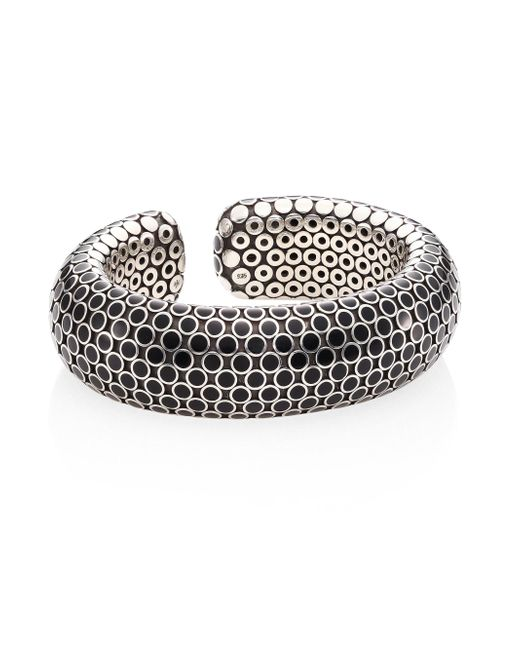 John Hardy | Metallic Dot Medium Sterling Silver Flex Cuff/black | Lyst