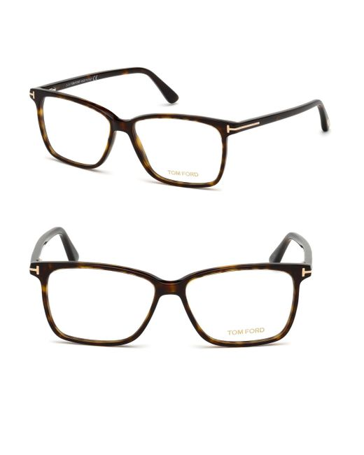Tom Ford - Brown 55mm Square Eyeglasses - Lyst