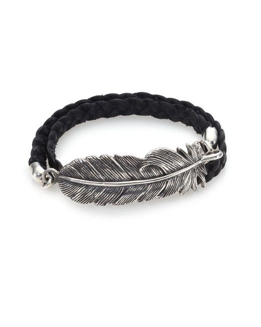 King Baby Studio | Metallic Double-Wrap Raven Feather & Leather Bracelet | Lyst