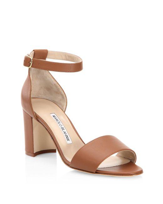 Manolo Blahnik - Brown Lauratomod Leather Sandals - Lyst