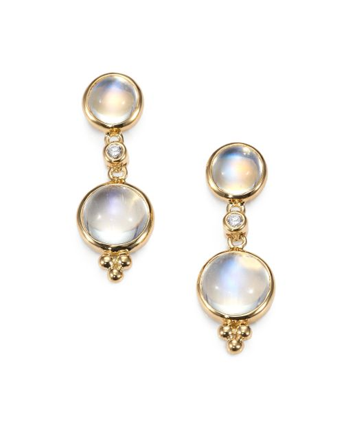 Temple St. Clair | Metallic Royal Blue Moonstone, Diamond & 18k Yellow Gold Double-drop Earrings | Lyst