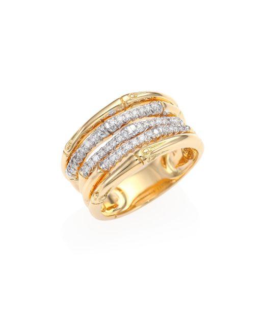 John Hardy | Metallic Bamboo Diamond & 18k Yellow Gold Ring | Lyst