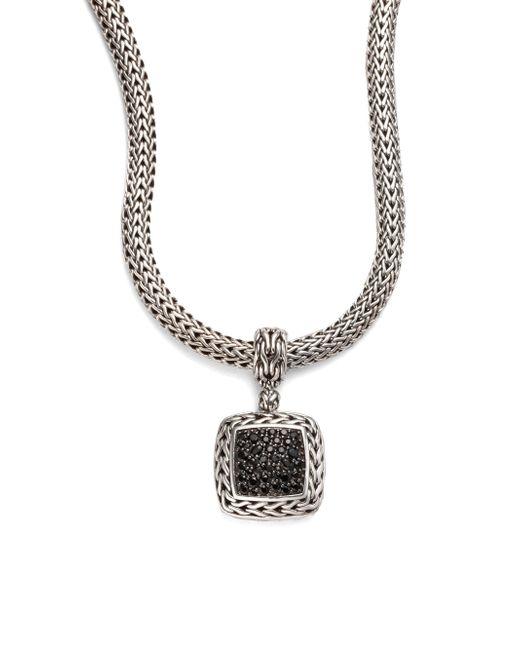 John Hardy - Classic Chain Black Sapphire & Sterling Silver Medium Square Pendant - Lyst