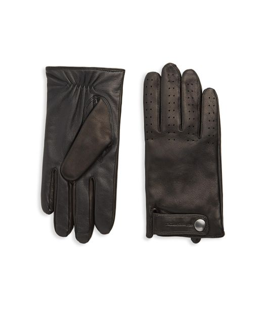 Mackage - Black Snap Leather Gloves - Lyst