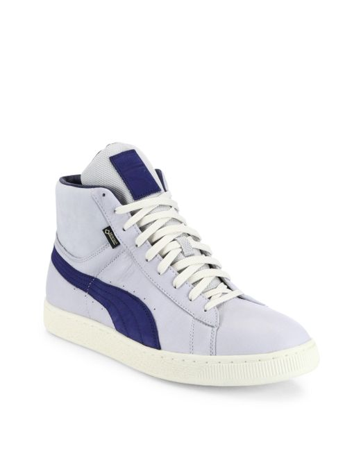 PUMA | Gray Striped Leather Mid-top Sneakers for Men | Lyst