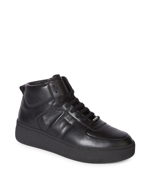 Maison Margiela | Black Leather High-top Sneakers for Men | Lyst