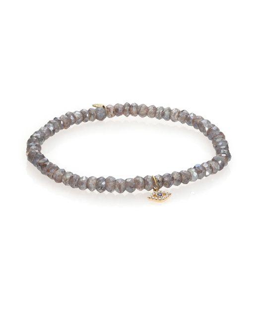 Sydney Evan - Metallic Diamond, Sapphire, Labradorite & 14k Yellow Gold Evil Eye Beaded Stretch Bracelet - Lyst