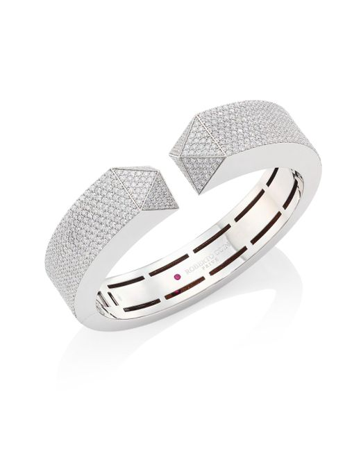 Roberto Coin | Multicolor Prive Pyramid Pave Diamond & 18k White Gold Bangle | Lyst