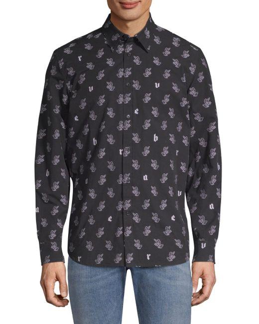 DIESEL - Black Rabbit Graphic Button-down Shirt for Men - Lyst