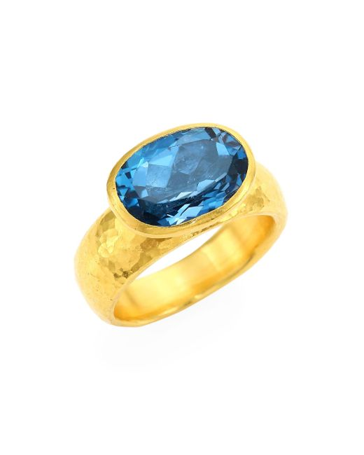 Gurhan - Rainbow One Of A Kind 24k Yellow Gold & London Blue Topaz Ring - Lyst