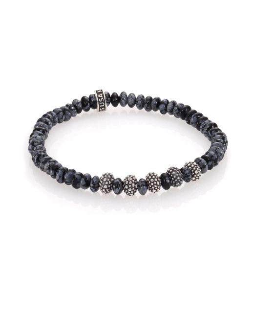 King Baby Studio - Metallic Snowflake Agate & Sterling Silver Bracelet for Men - Lyst