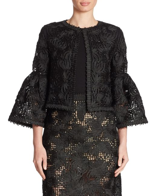 Oscar de la Renta | Black Wool & Silk Lace Jacket | Lyst