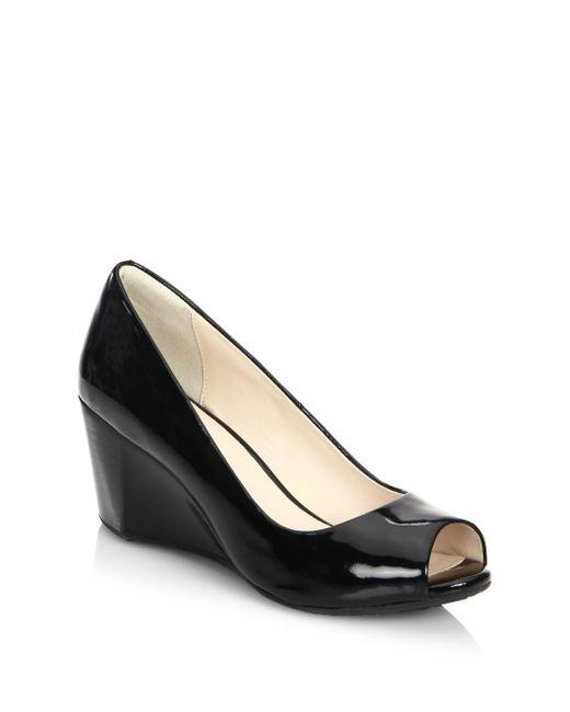 Cole Haan - Black Sadie Ot Patent Leather Peep Toe Wedge Pumps - Lyst
