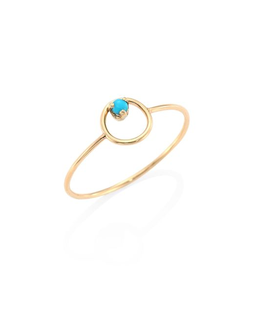 Zoe Chicco   Metallic Turquoise & 14k Yellow Gold Circle Ring   Lyst