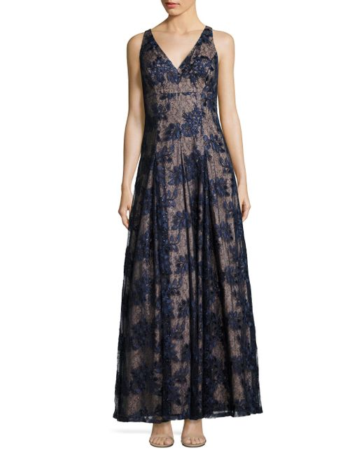 Aidan Mattox | Blue Twilight Fit & Flare Lace Gown | Lyst