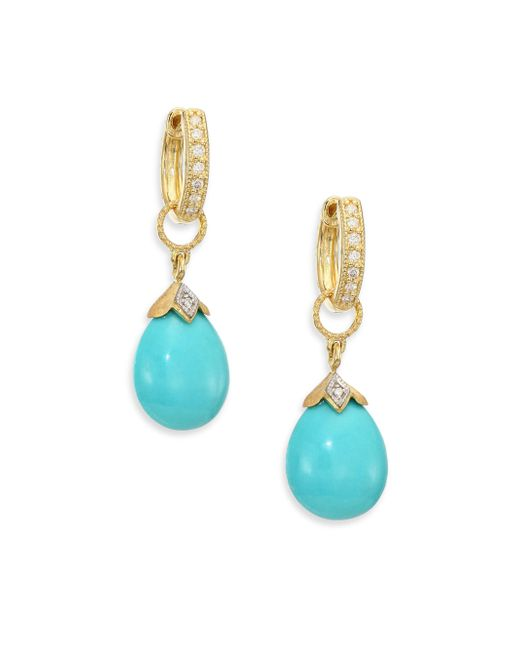 Jude Frances - Multicolor Lisse Turquoise, Diamond & 18k Yellow Gold Pear Briolette Earring Charms - Lyst